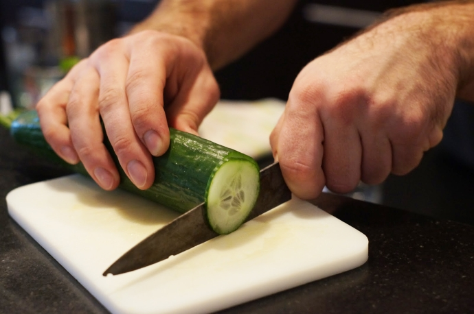 Step 1 of 10: Cut 3 thin slices of cucumber