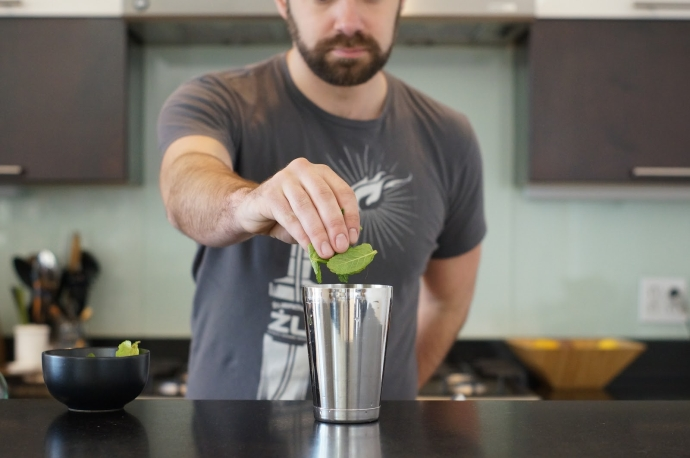 Step 1 of 11: Add large pinch of mint to shaker