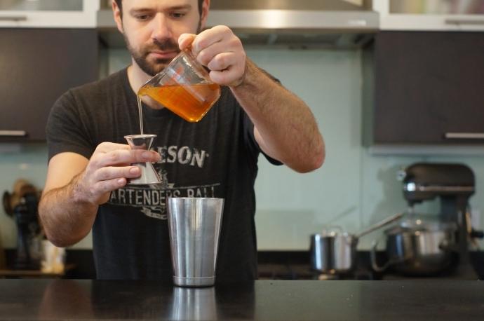 Step 2 of 6: Add 3/4 oz honey syrup. To Make honey syrup, ta
