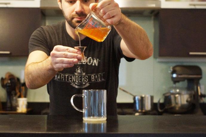 Step 2 of 5: Add 1/2 oz honey syrup To Make honey syrup, tak