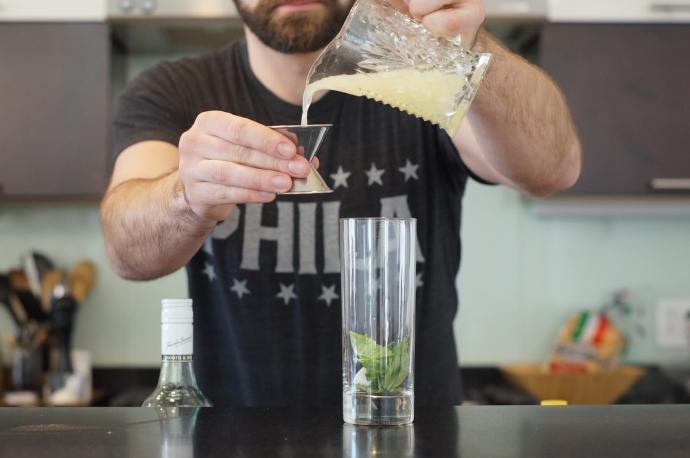 Step 3 of 11: Add 1 oz lime juice