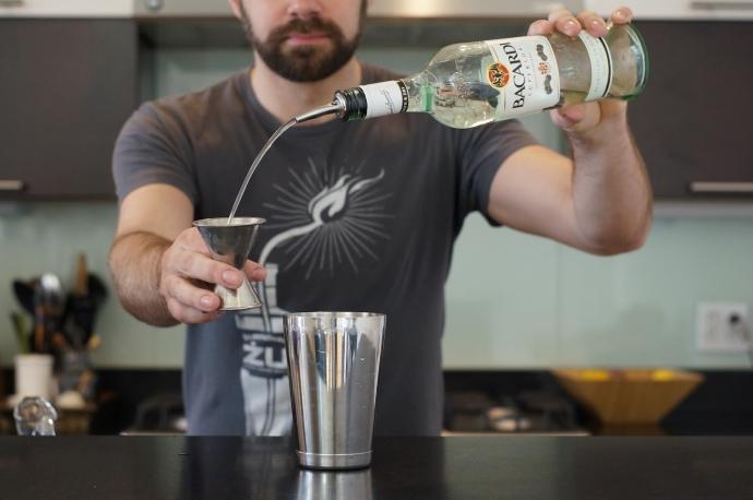 Step 4 of 6: Add 1 1/2 oz white rum