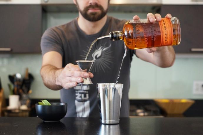 Step 5 of 8: Add 2.5 oz of Bourbon