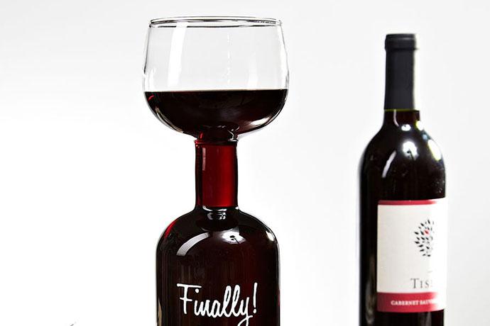 2. Wine Bottle Glass, $19.95 It's a bit unwieldy, but